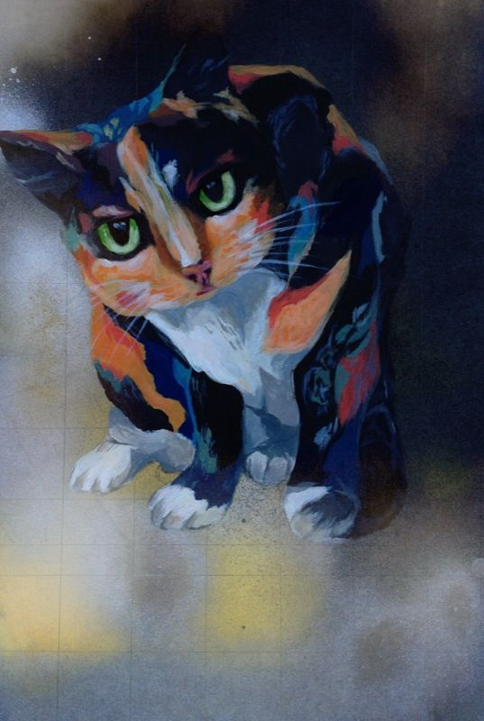 'Poppy' from the Auckland SPCA. Acrylic painting by Sophie Gill