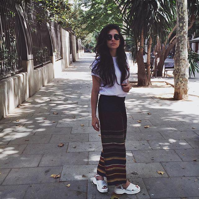 Anna Nooshin (Dries Van Noten trousers and sandals)