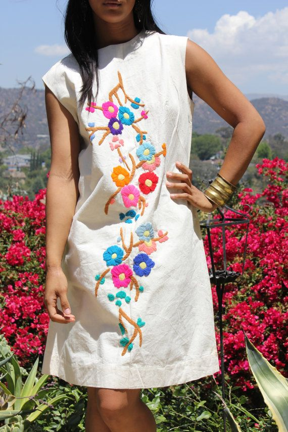 Darling Hand Embroidered Flowers Mexican Sun Dress SHift Dress
