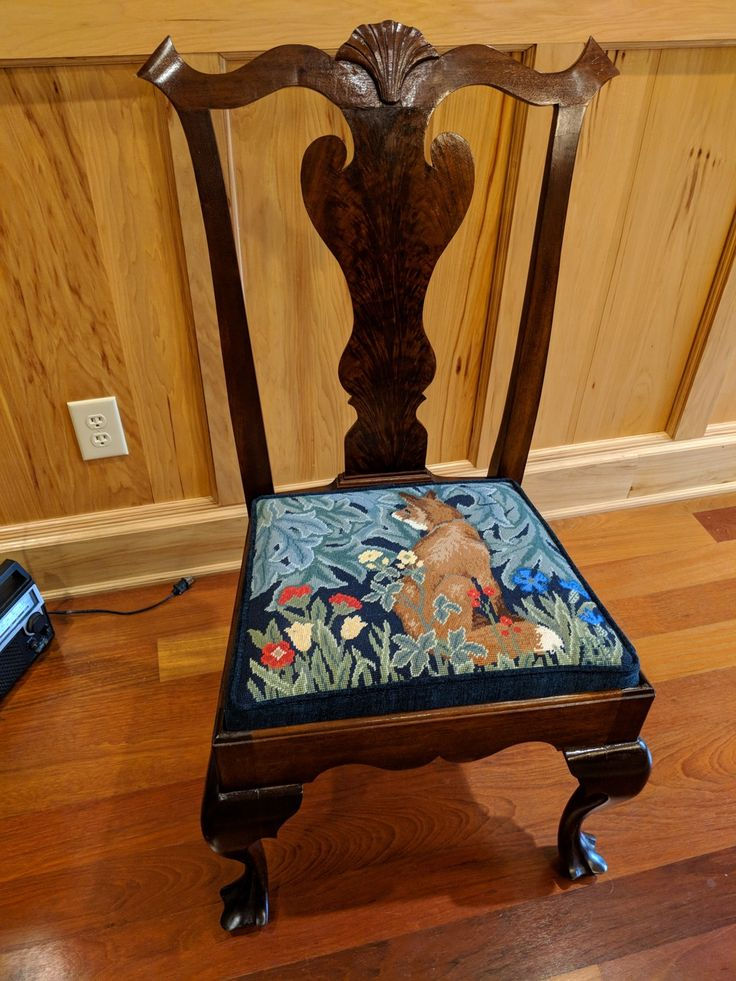 """Ed Gerrard writes: """"Well it has been a long struggle but I finished your tapestry and had it made into a chair seat the only way I was able to get it done. I love it and am very satisfied with the project. I suspect it will spend a long life in my daughter's house. Thank you for your help and, of course, your design!"""""""
