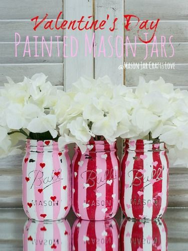 Valentine's Day Crafts - DIY Valentine's Day Projects - another great use for mason jar. Pink & Red Stripes!