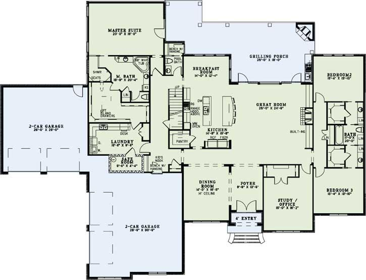 Floorplan is spot on. European Style House Plans - 4076 Square Foot Home, 1 Story, 3 Bedroom and 3 3 Bath, 4 Garage Stalls by Monster House Plans - Plan 12-1282