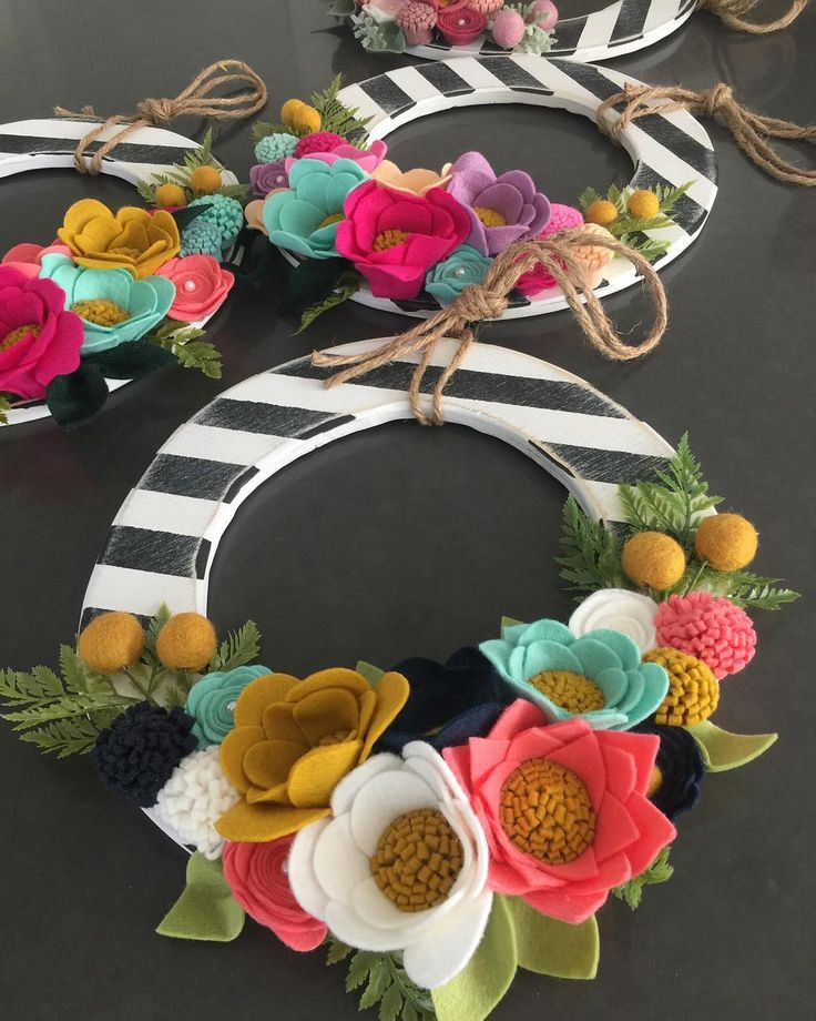 black & white striped floral wreath
