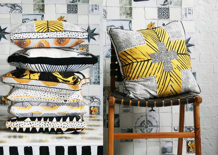 AHOY TRADER hand painted cushions... love.