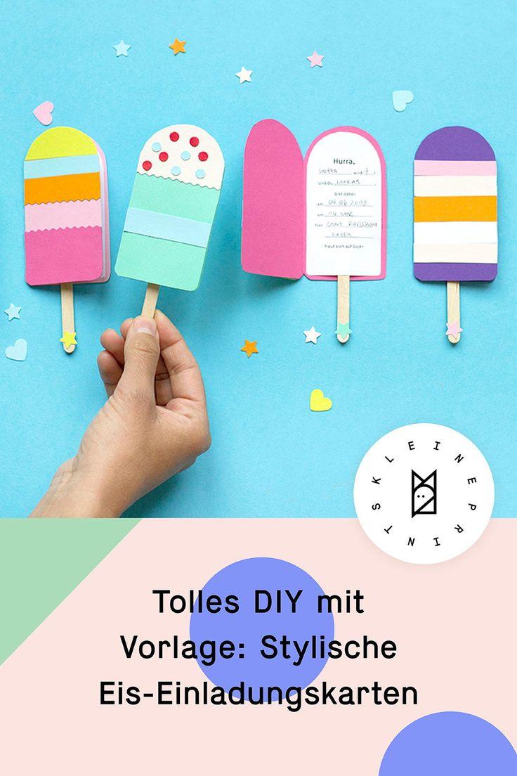 Tolles DIY mit Vorlage: Die beliebten Eis-Einladungskarten!