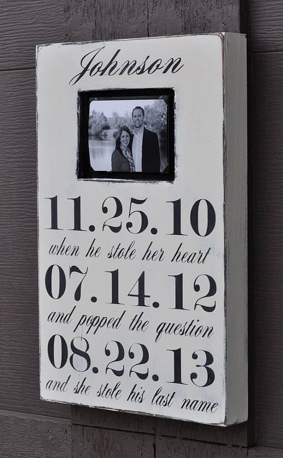 Photo Frame, Custom Wedding Sign, Personalized Engagement Gift,Wedding Gift, Engagement Present, Bridal Shower Gift via Etsy would have to change the last line :)