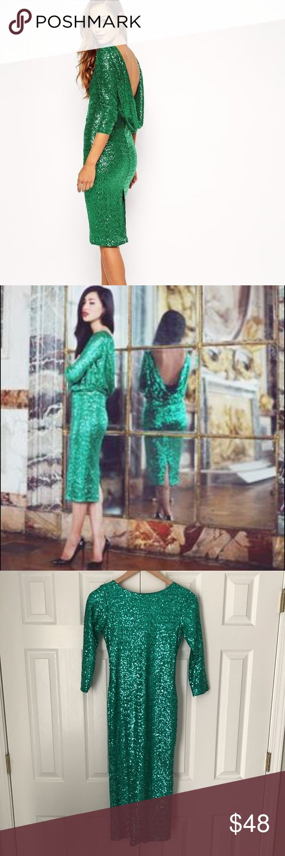 Green sequin midi dress. Asos green sequin midi. Size 4. Absolutely beautiful and new without tags! ASOS Dresses Midi