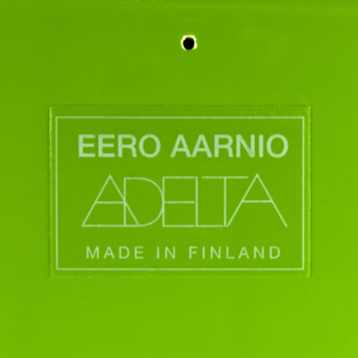 """Artist/Designer: Eero Aarnio b. 1932 Helsinki, Finland Title: Pastil Chair 1968 Medium: Molded fiberglass and reinforced polyester. Dimensions: 20.5"""" h x 36.5"""" diameter Manufacturer: Adelta Details: This version circa 2003.Brand new condition in original box. Only 1 available. Notes from the Archive:The name of the chair refers to a small sweet or candy in a similar shape, with a brightly colored shell and a licorice center. After all, licorice is the most popular candy in Finland…"""