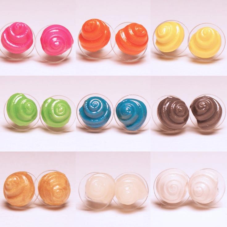 Swirly Shell Pair of Stud Earrings. $10.00, via Etsy.