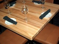 Wood butcher block restaurant tables can be custom made in various sizes and thicknesses.
