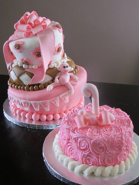 Pink Sock Monkey Cake and Smash Cake www.allthatfrost.com