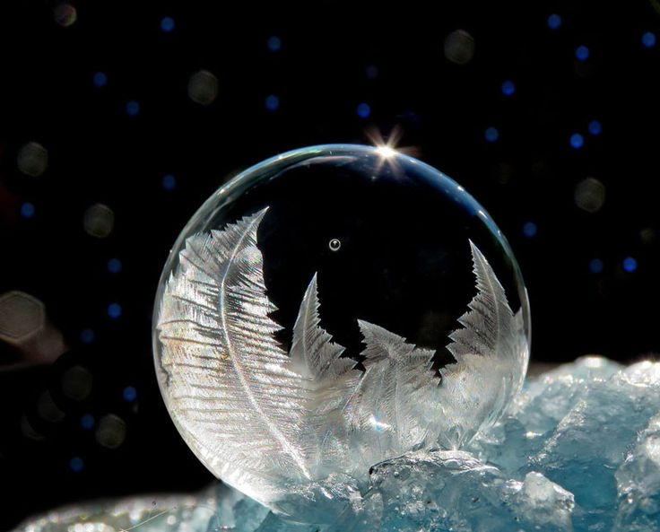 Soap Bubbles in Cold Weather by Cheryl Johnson | If you blow soap bubbles in freezing cold weather, crystals of ice form on their surface (actually in the middle as the water is between two thin layers of soapy film). Each bubble and pattern created is unique.