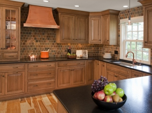 Quarter Sawn White Oak Inset Cabinetry And Multi Color Slate Backsplash Set In A Running