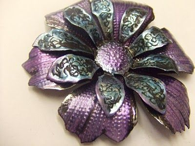 Yours Artfully: Flower Power..... Aluminum flowers die cut and enhanced with tools and paint