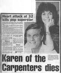 Karen Carpenter dies @ 32.......gone too soon!