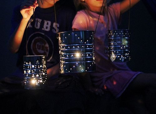SO cute! I couldn't decide where to pin this, as it would be adorable at a camp (or glamping) site!  Alcia from Mayfly sharing how to make tin can lanterns for kids!: Craft Camp, Lanterns Craft, Kids Crafts, Tin Can Lanterns, Tin Cans, Craft Ideas