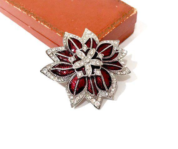 2830698db81 Monet Enamel Pin Rhinestone Flower Brooch Clear Pave Rhinestones Ruby Red  Enamel Layered Figural Silver Tone Signed Vintage 1980s