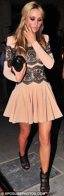 Alex Curran Gerrard in blush Philip Armstrong dress with black Alexander McQueen clutch and platform sandals.