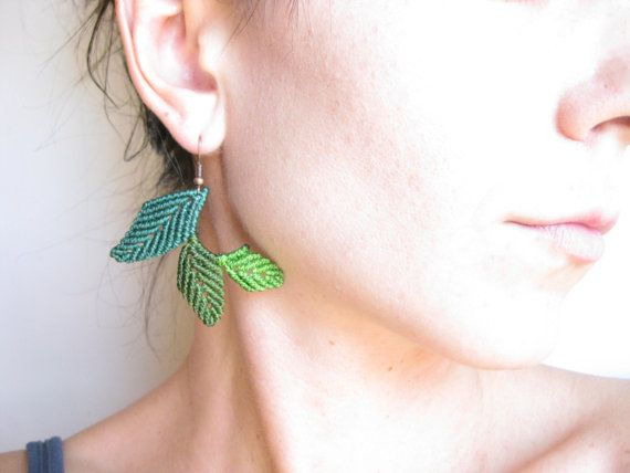 Love these - Leaf Earrings Green Fiber Macramé Jewelry  Classy Organic by raiz, $36.00