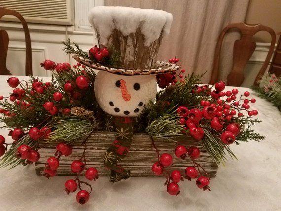 Christmas Centerpiece Snowman Centerpiece Cabin Decor Christmas Centerpieces Holiday Centerpieces Christmas Wreaths