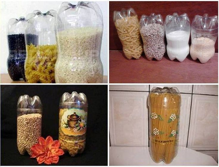 soda bottle storage containers - shear off the top, use the bottom of another bottle as a lid