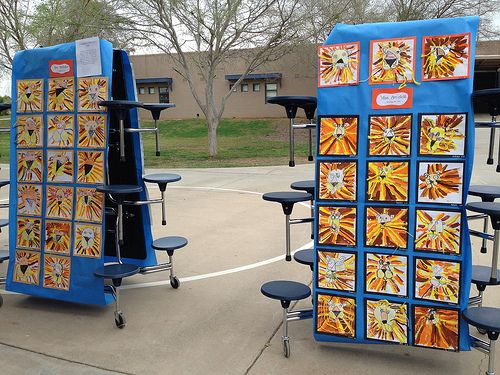 Art show outside: cafeteria tables for display!