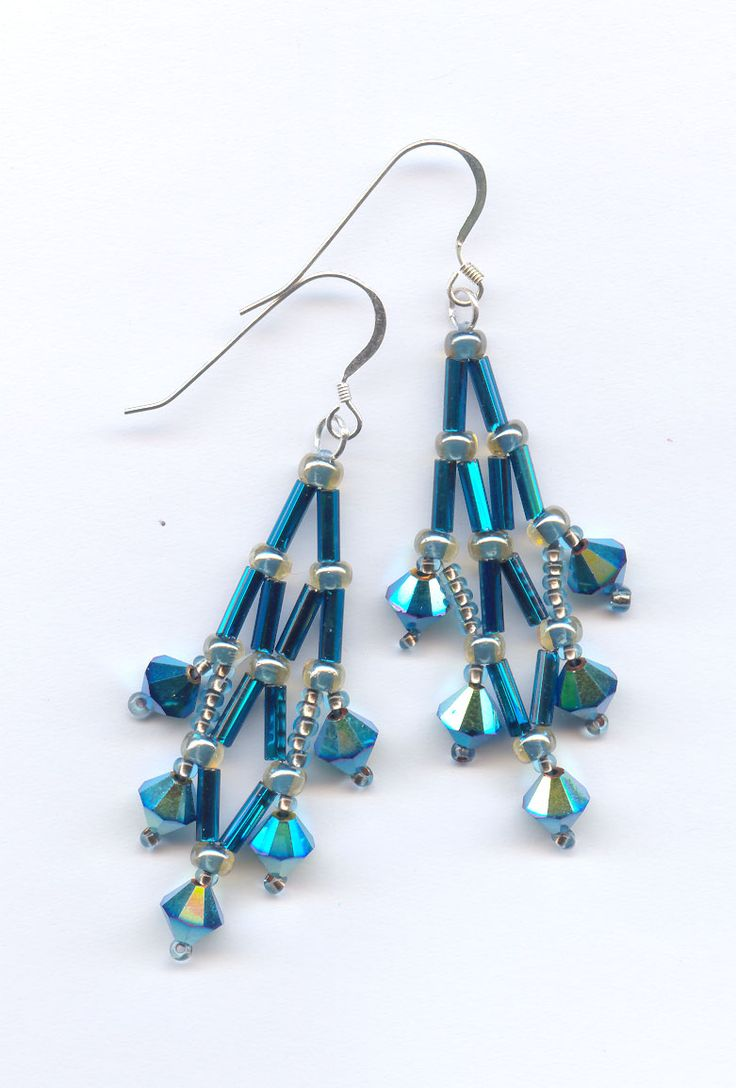 Glitter Drop Earrings are netted bugles with 6mm Swarovski bacons as drops. Kit and pattern available.