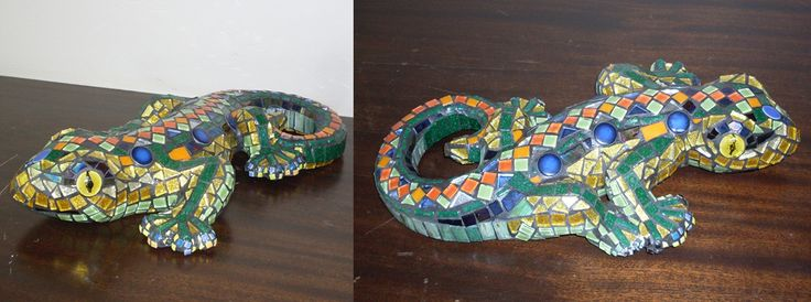 Glass and porcelain mosaic Gecko for a friend's new garden