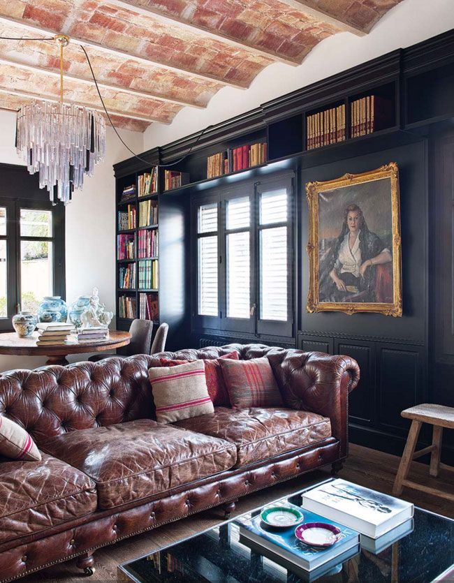 A century old loft in Barcelona - desire to inspire - desiretoinspire.net - black walls leather chesterfield