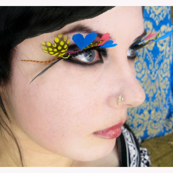 Love Eyes - Mod Psychedelic Feather Eyelashes w/ Rainbow-Colored Hearts and Swarovski Crystals