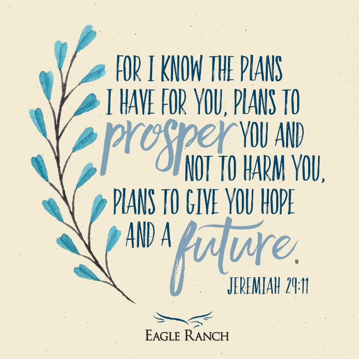 For I know the plans I have for you, plans to prosper you and not to harm you, plans to give you hope and a future. Jeremiah 29:11