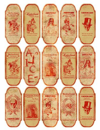 One Blank Dream: Some free voodoo magic apothecary Alice In Wonderland Labels