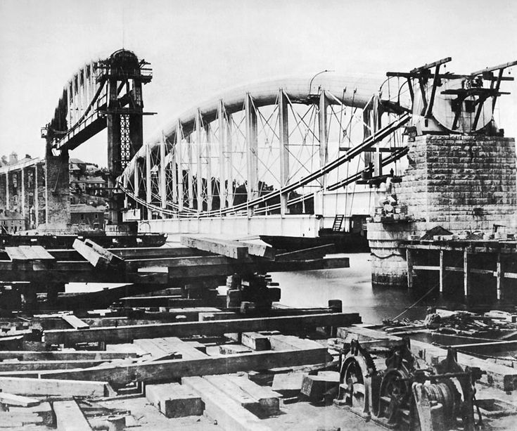 Tamar Rail Bridge under construction. Taken in the 1850s shortly before it opened