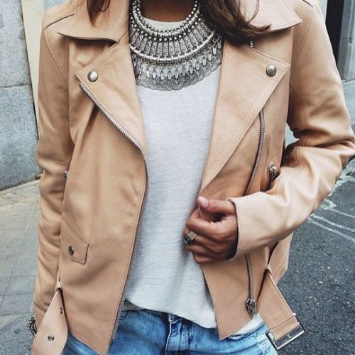 This tan leather jacket is to die for!