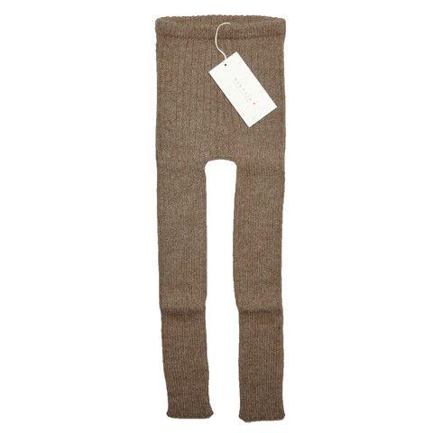 Esencia Chokobrune rib leggings, i fairtrade alpacauld | uldbørn