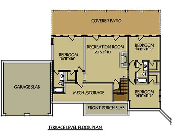 basement level with 3 bedrooms and recreation room