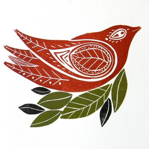 Red Winter Bird Original Linocut Print by mangleprints on Etsy
