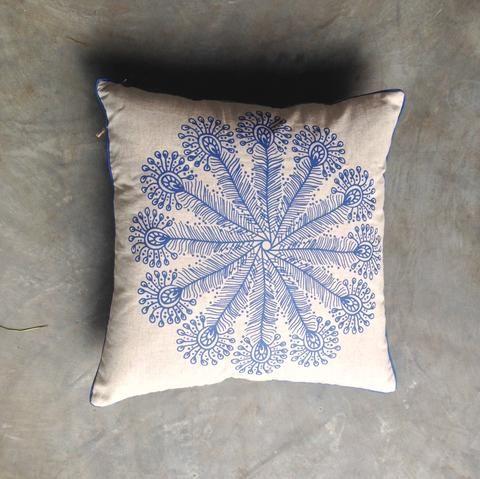 Blue Navy Peacock feather Mandala Cushion