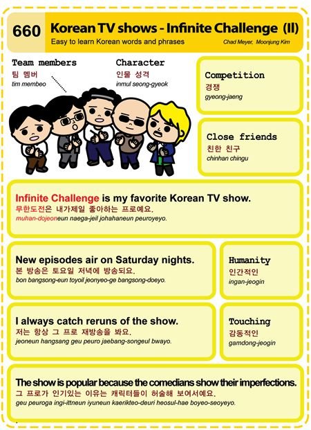 660 Learn Korean Hangul: Korean TV shows - Infinite Challenge (II)