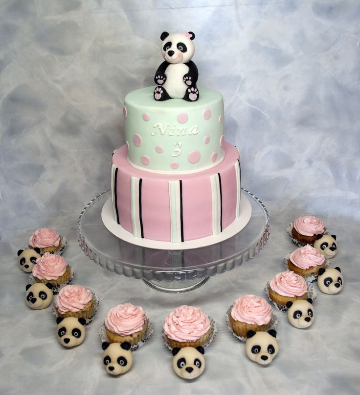 Dort na pandí párty. Pandas Party Cake.