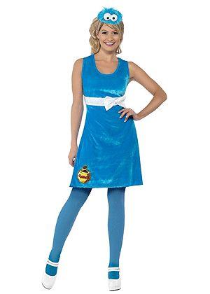 Sesamstraat Koekie monster jurkje voor dames. Dit blauwgekleurde jurkje is gebaseerd op Sesamstraats Koekie monster. Het Koekie monster kostuum voor dames bestaat uit een jurkje en hoofdband met het hoofd van Koekie monster. Carnavalskleding 2015 #carnaval