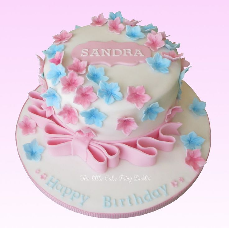 Pink and blue floral cascade birthday cake, suitable for Confirmations and Communions