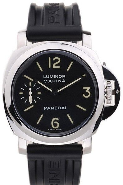 Mens Replica Panerai Luminor Marina Automatic Black Dial Solid 440 Stainless Steel Bezel Watch With Black Rubber Strap
