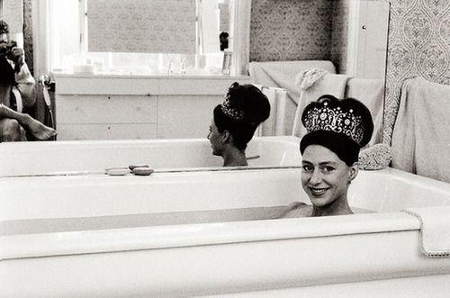 Princess Margaret wearing her wedding tiara in the bath, 1962