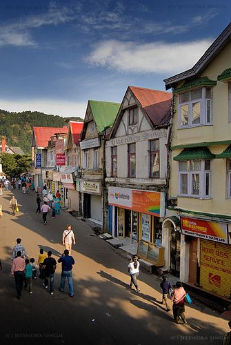 The Mall, Shimla - A British Himalayan Town famous because in the Raj no Indian was allowed to walk there....but my guru and I were thrown out of town for being together here in 1974: who'd believe it?