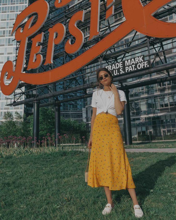 Yellow Floral Midi Skirt