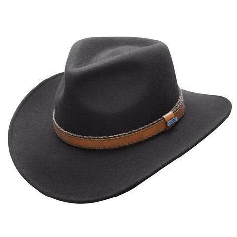 Conner Hats Outback Creek Crushable Black Wool Hat - Hat-A-Tack ee27c9540b05