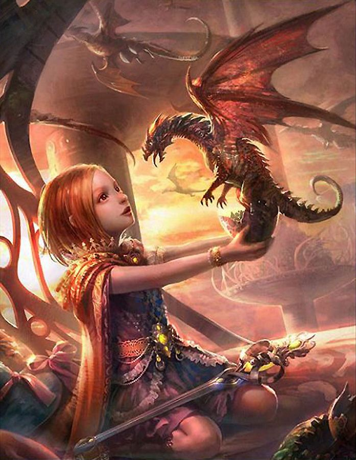 Young warrior with dragon
