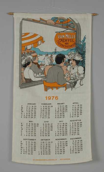 """Op textiel gedrukte kalender, """"Van Nelle 1976"""""""