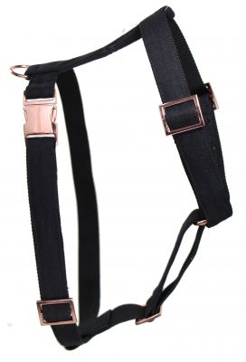 The MOON harness Rose gold dog harness with black linen - handmade in Germany - get yours on www.prunkhund.com